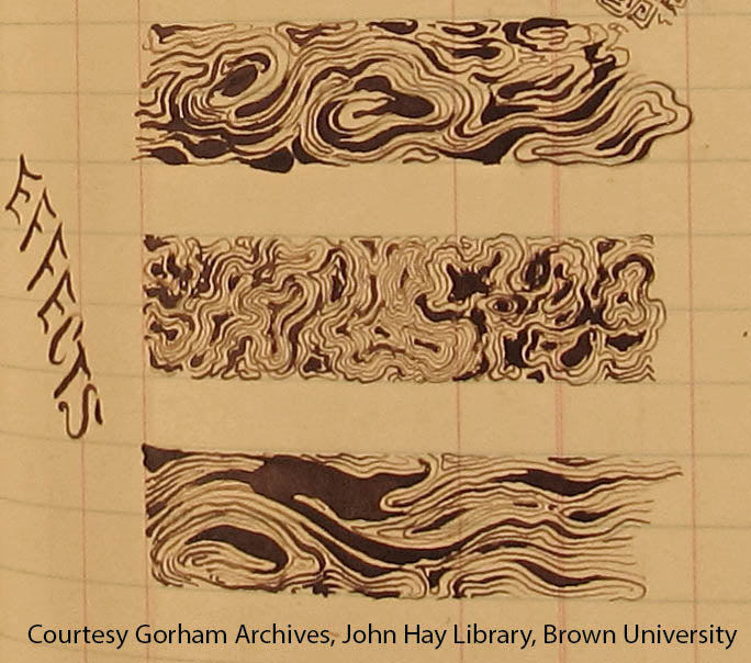 Tiffany & Co. Mokume patterns, courtesy Gorham Mfg. Co. Archives, John Hay Library, Brown University.