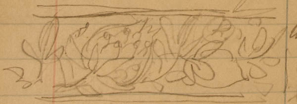Charles Grosjean sketch of Herter Brothers pomegranate carving, 1879.  Gorham Mfg. Co. Archives, John Hay Library, Brown University.