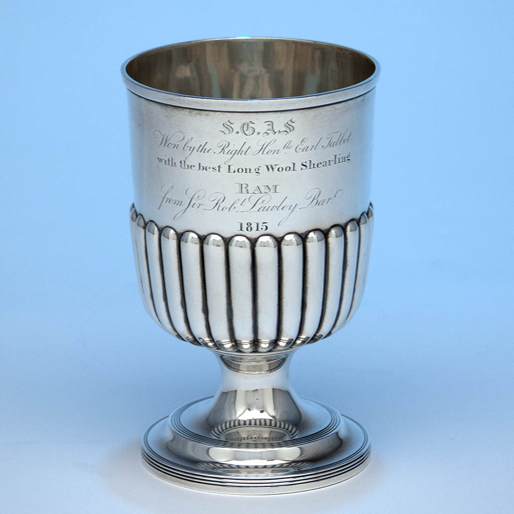 English Antique Sterling Silver Agricultural Fair Trophy by William Bateman, London, 1815