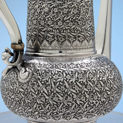 Base of Tiffany & Co Antique Sterling Silver Aesthetic Movement Coffee Pot, New York - c. 1888