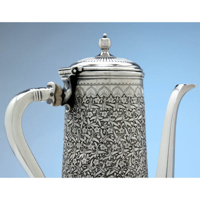 Cover to Tiffany & Co Antique Sterling Silver Aesthetic Movement Coffee Pot, New York - c. 1888