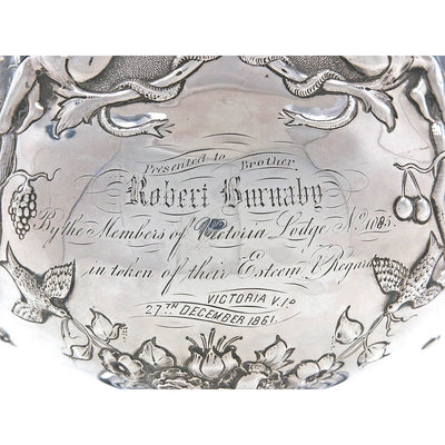 Inscription on Rare Figural Repousse American Coin Silver Presentation Pitcher by Peter Krider, Philadelphia, of Victoria, BC, Masonic Interest, c. 1861