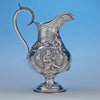 Rare Figural Repousse American Coin Silver Presentation Pitcher by Peter Krider, Philadelphia, of Victoria, BC, Masonic Interest, c. 1861