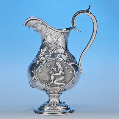 Reverse of Rare Figural Repousse American Coin Silver Presentation Pitcher by Peter Krider, Philadelphia, of Victoria, BC, Masonic Interest, c. 1861