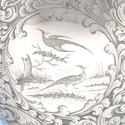 Detail of American Silver Presentation Ewer by James Bogert, Newburgh, NY, Retailed by Ball, Thompkins & Black, NYC, 1849/50