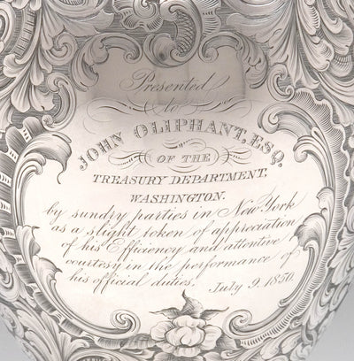 Inscription on American Silver Presentation Ewer by James Bogert, Newburgh, NY, Retailed by Ball, Thompkins & Black, NYC, 1849/50