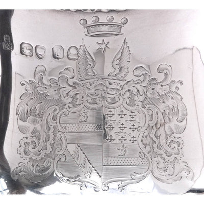 Coat of Arms on the The Baring Family English Sterling Silver Hot Water Jug or 'Turkey Coffee Pot' by Robert Garrard, London, c. 1822/23, bearing the arms of Baring as borne by Sir Francis-Thornhill Baring, 3rd Baronet and First Baron Northbrook