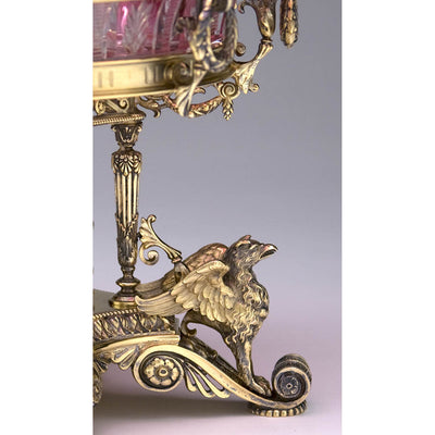 Detail of Gorham MFG Co. Sterling Silver Gilt and Cut Glass Pair of Dessert Stands, designed and executed for the World's Columbian Fair, 1893