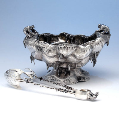 Gorham Sterling Silver 'Polar' Ice Bowl and Tongs, c. 1882