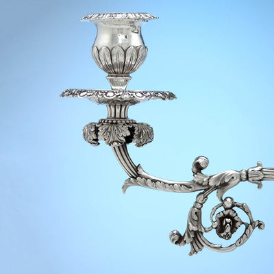 Candle arm on Rebecca Emes & Edward Barnard, Exceptional English Antique Sterling Silver Epergne, London - 1819/20