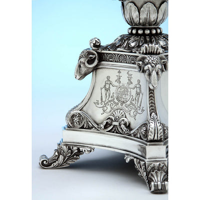 Rams' head detail on Rebecca Emes & Edward Barnard, Exceptional English Antique Sterling Silver Epergne, London - 1819/20