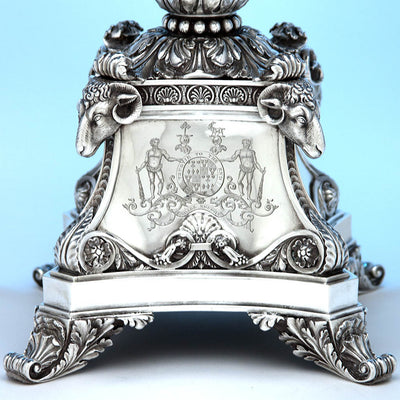 Arms of Leith-Hay on Rebecca Emes & Edward Barnard, Exceptional English Antique Sterling Silver Epergne, London - 1819/20