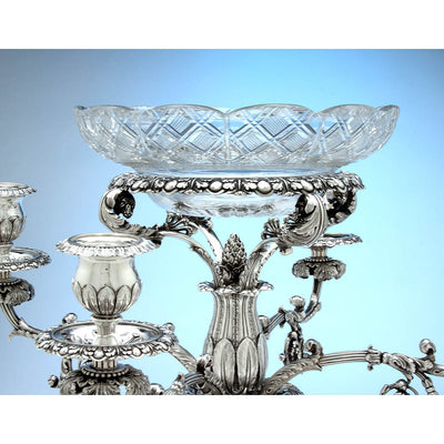 Center basket on Rebecca Emes & Edward Barnard, Exceptional English Antique Sterling Silver Epergne, London - 1819/20