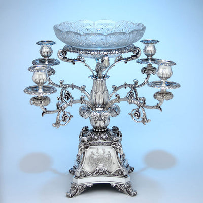 With candle holders Rebecca Emes & Edward Barnard, Exceptional English Antique Sterling Silver Epergne, London - 1819/20