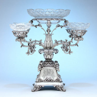With bowls Rebecca Emes & Edward Barnard, Exceptional English Antique Sterling Silver Epergne, London - 1819/20