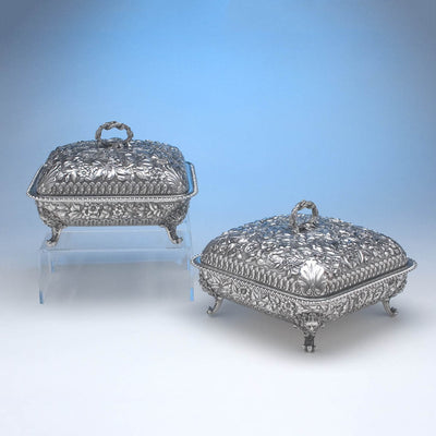 Peter Krider Pair of Sterling Silver Covered Serving Dishes, c. 1878-94