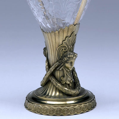 Gorham Gilt Silver and Cut Glass Figural Vase, 1893, made for the World's Columbian Exposition in Chicago