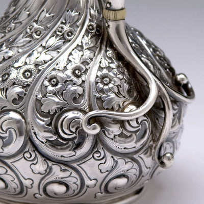 Handle detail on the Durgin Antique After-Dinner Sterling Silver Coffee Pot, Concord, NH, c. 1900