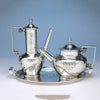Coffee, Tea and tray of the Shreve & Co Sterling Silver 7-piece Coffee and Tea Service, San Francisco - c. 1905