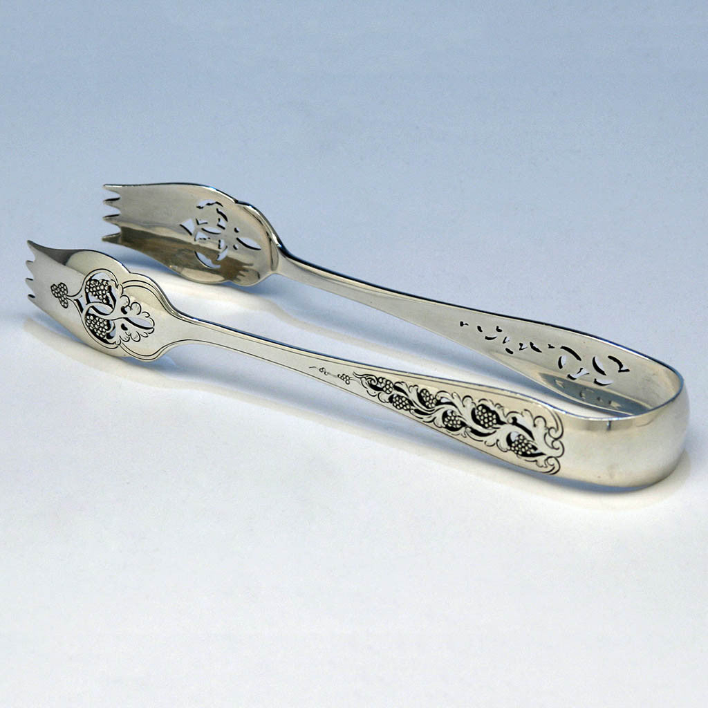 Arthur Stone Pierced Grape Design Sterling Silver Ice Tongs, early 20th century