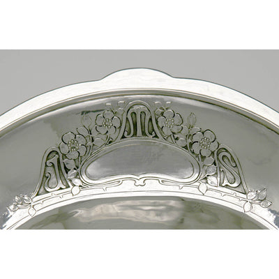 Monogram on The Julia Marlowe Sothern Sterling Silver Bread Basket by Arthur Stone, Gardner, MA, c. 1915