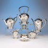 Arthur Stone Silver 6 Piece Decorated Arts & Crafts Hand Wrought Coffee and Tea Service, 1921-27