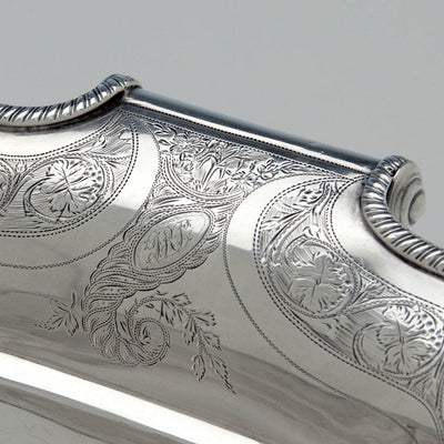 Monogram on Lewis & Smith Antique Coin Silver Bread Basket, Philadelphia, 1805-1810