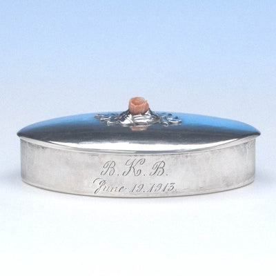 Kalo Shop Sterling Silver & Coral Covered Box, c. 1913