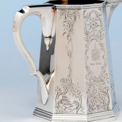 Handle and panel of the Lows, Ball and Company, likely by Obadiah Rich, Antique Coin Silver Pitcher, Boston, MA, 1840-46