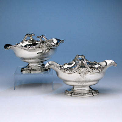 Pair of George II English Sterling Silver Double-lipped Sauce Boats, Thomas Heming, London, 1759/60
