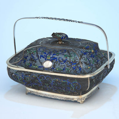 Chinese Export Silver Filigree & Enamel Basket, early 19th century