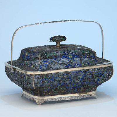 Reverse of Chinese Export Silver Filigree & Enamel Basket, early 19th century