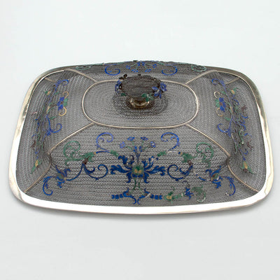 Cover to Chinese Export Silver Filigree & Enamel Basket, early 19th century