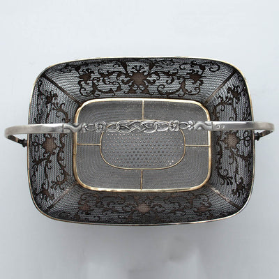 Handle and interior of Chinese Export Silver Filigree & Enamel Basket, early 19th century