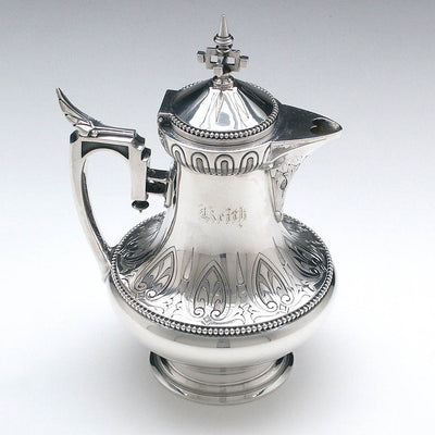 Creamer of Wood & Hughes Antique Coin Silver 3-piece Coffee Set, New York City, c. 1860