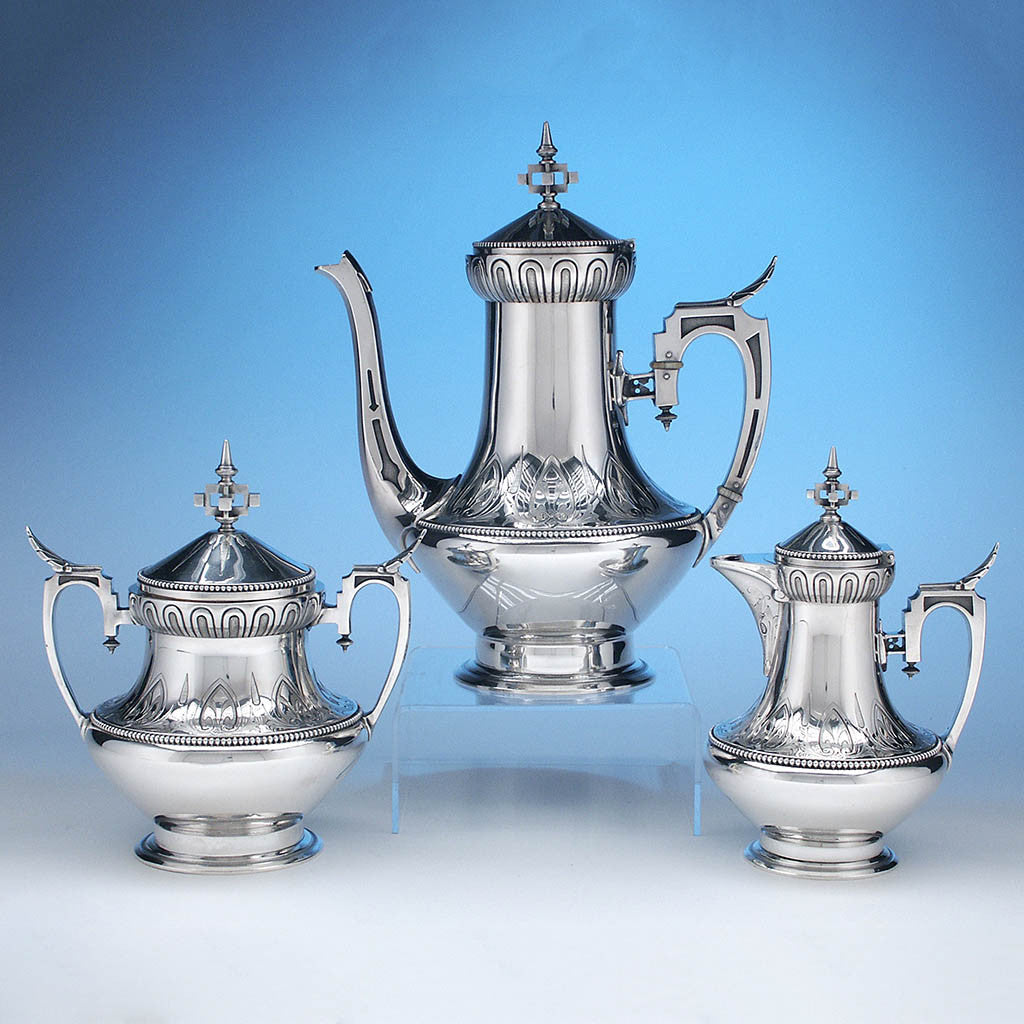 Wood & Hughes Antique Coin Silver 3-piece Coffee Set, New York City, c. 1860