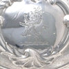 Crest on Rebecca Emes & Edward Barnard Pair of English Sterling Silver Muffin or Breakfast Dishes, London, 1827/28, on Antique Sheffield Plate Stands