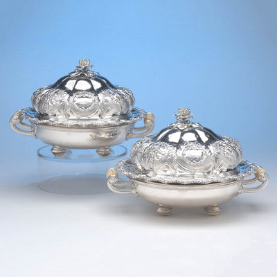 Rebecca Emes & Edward Barnard Pair of English Sterling Silver Muffin or Breakfast Dishes, London, 1827/28, on Antique Sheffield Plate Stands