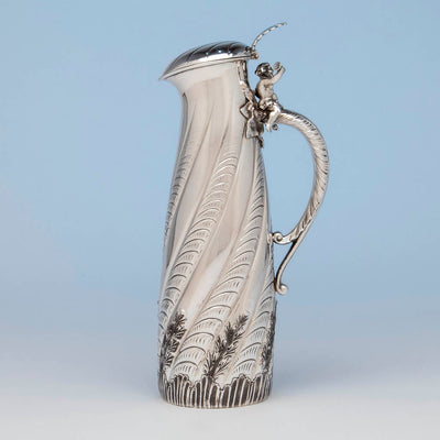 Other side Gorham Antique Sterling Silver Champagne Pitcher, Providence, RI, 1887