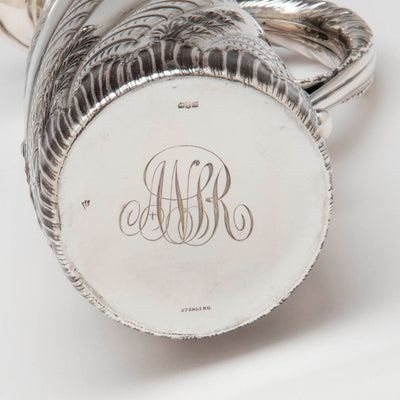Monogram on the Gorham Antique Sterling Silver Champagne Pitcher, Providence, RI, 1887