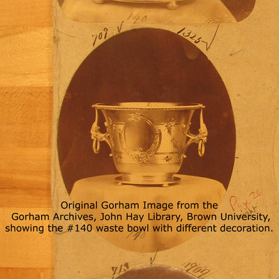 Archival image of the Gorham Antique Coin Silver Waste Bowl, Providence, RI, c. 1870's