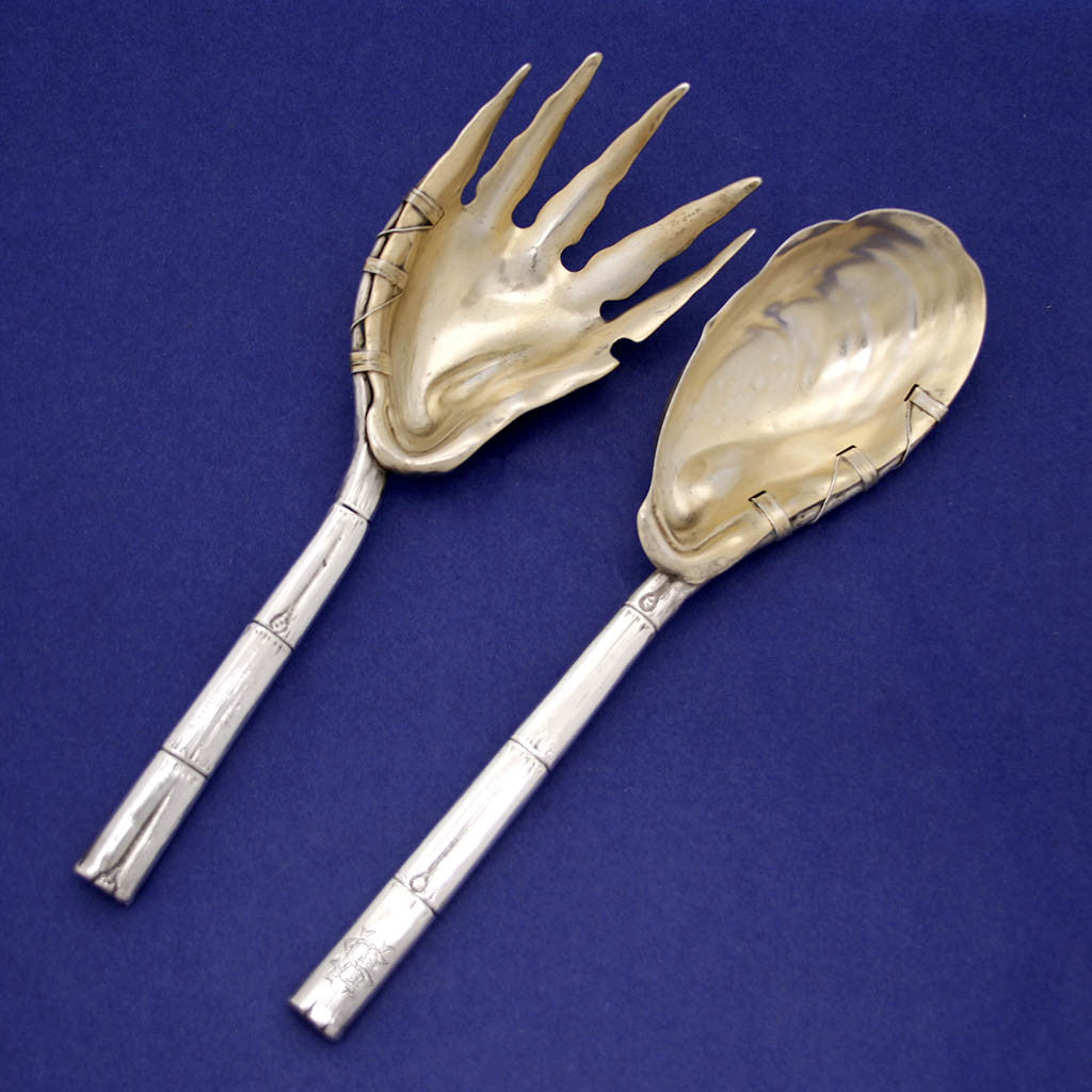 Gorham Sterling Silver Aesthetic Movement Naturalistic Serving Fork and Spoon Set, 1884
