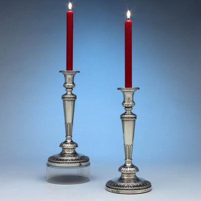 John Roberts & Co Pair of Antique English Sterling Silver Candlesticks, Sheffield, 1807/08