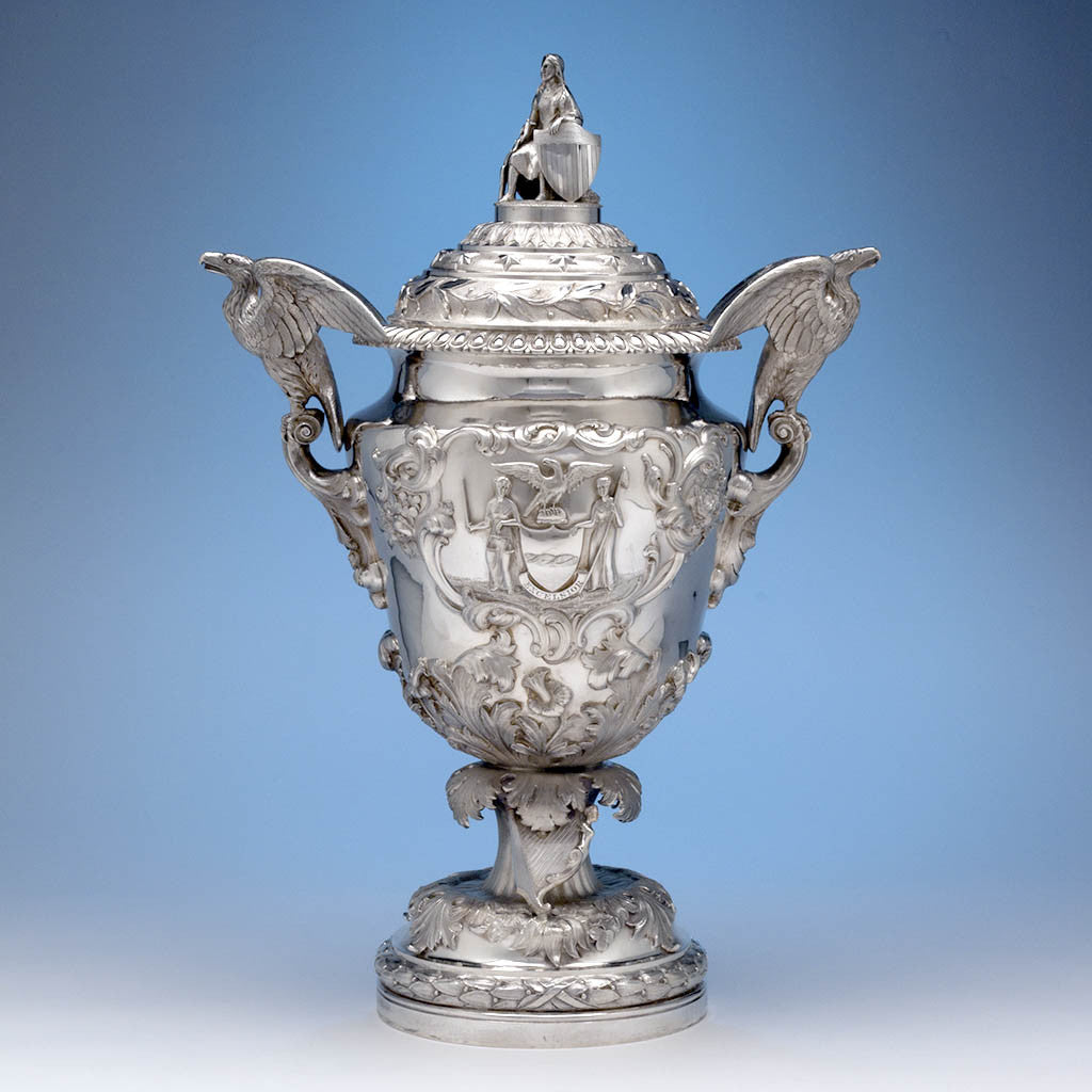 James Thomson - The McKeon Vase: Monumental American Silver Covered Presentation Vase Designed by Sculptor Robert Ball Hughes, New York, NY, 1837