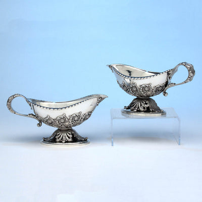 Tiffany & Co Pair of 'George III' Sterling Silver Sauce Boats designed by Paulding Farnham and executed for the 1900 Paris Exposition Universelle