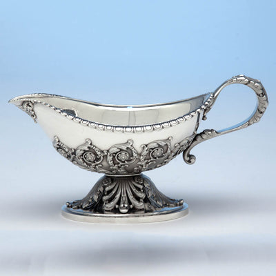 Single example of Tiffany & Co Pair of 'George III' Sterling Silver Sauce Boats designed by Paulding Farnham and executed for the 1900 Paris Exposition Universelle