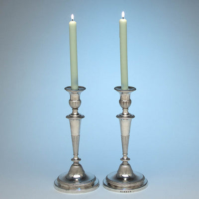 S.C. Young & Co Pr of English Sterling Candlesticks, 1803/04 with Antique Sheffield Plate Branches