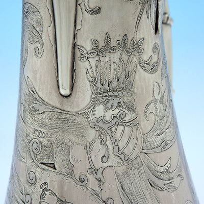 Engraving on Gorham Antique Sterling Silver Champagne Pitcher, Providence, RI - 1886