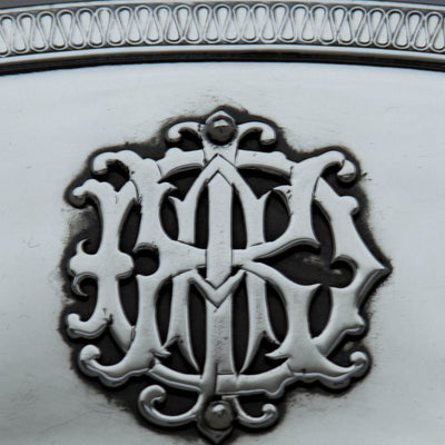 Monogram on Gorham Mfg. Co. Antique Coin Silver Figural Centerpiece or 'Fruit Stand', Providence, RI, c. 1867