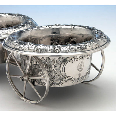 Back of Francis W. Cooper American Coin Silver Wine Wagon or Trolley, New York City, 1849-54